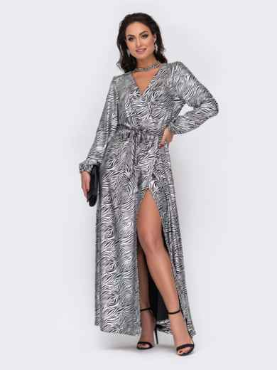 Длинное платье батал с принтом и высоким разрезом серое 52218, фото 1
