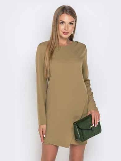 Приталенное платье цвета хаки с жемчужинами 40640, фото 1