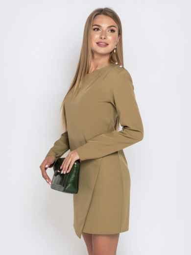 Приталенное платье цвета хаки с жемчужинами 40640, фото 2