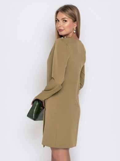 Приталенное платье цвета хаки с жемчужинами 40640, фото 3