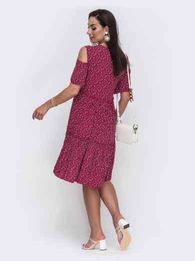 Бордовое платье батал с принтом и открытыми плечами 49589, фото 2