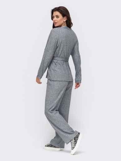 Брючный костюм из фактурного трикотажа серый 51206, фото 3