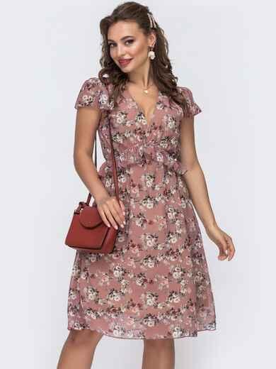 """Пудровое платье из шифона с принтом и рукавом """"крылышко"""" 48077, фото 1"""