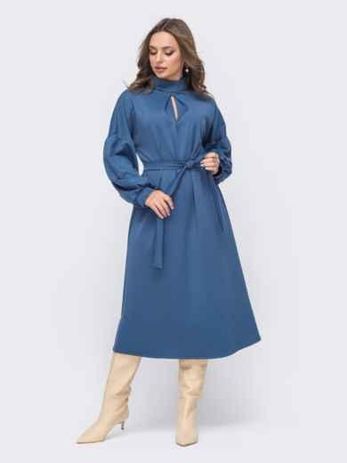 Синее расклешенное платье с объёмными рукавами 51556, фото 1