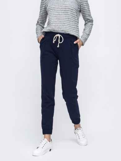 Тёмно-синие брюки-джоггеры со стандартной посадкой 45621, фото 1