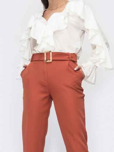 Укороченные брюки терракотового цвета с поясом 45626, фото 2