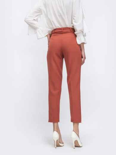Укороченные брюки терракотового цвета с поясом 45626, фото 3