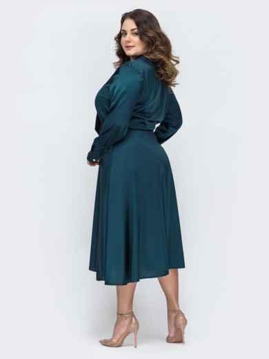 Шелковое платье батал с воротником-аскот зеленое 45396, фото 2