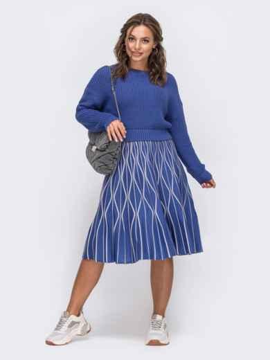 Синий комплект с расклешенной юбкой с узором 50444, фото 2
