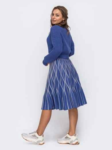 Синий комплект с расклешенной юбкой с узором 50444, фото 3
