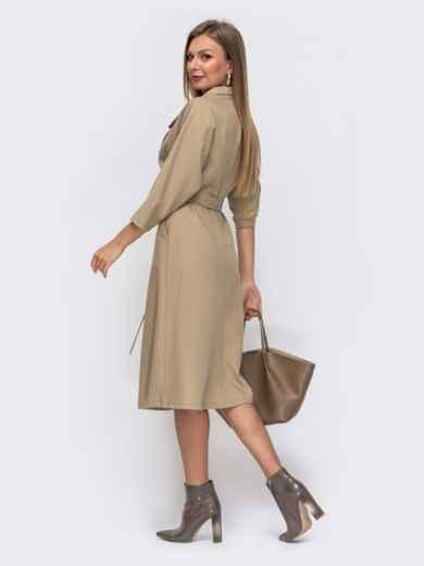 Бежевое платье с лацканами и цельнокроеным рукавом 50818, фото 3