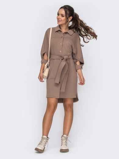 Платье-рубашка бежевого цвета с рукавом-реглан - 50817, фото 1 – интернет-магазин Dressa