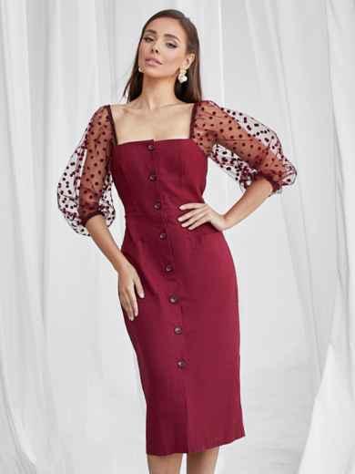 Приталенное платье с фатиновыми рукавами в горох бордовое 50063, фото 2