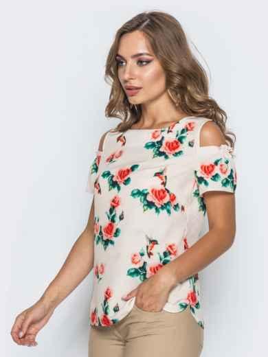 Розовая блузка в цветочный принт с открытыми плечами 14035, фото 2