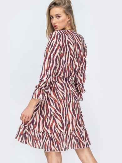 Шифоновое платье на запах с принтом цвета бордовое 45428, фото 3