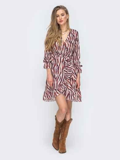 Шифоновое платье на запах с принтом цвета бордовое 45428, фото 4