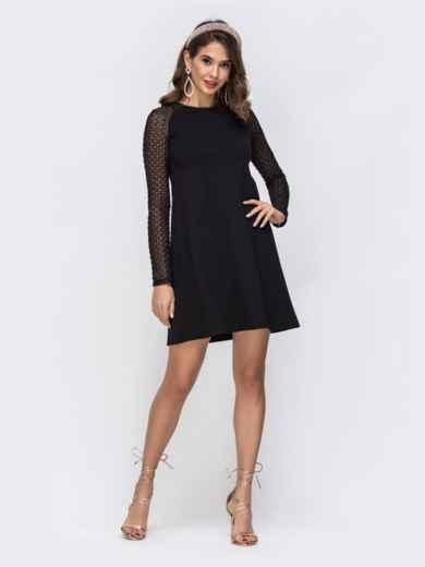 Платье-трапеция с рукавом-реглан с перфорацией чёрное 42963, фото 1