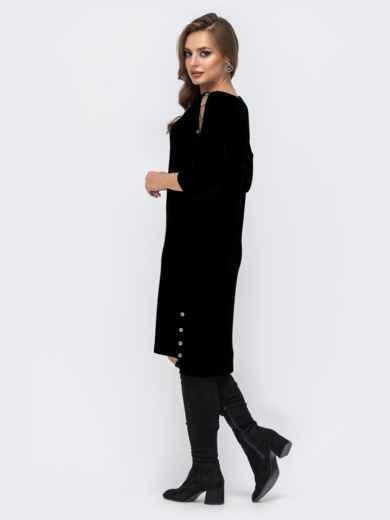 Трикотажное платье батал с удлиненной спинкой чёрное 44064, фото 2