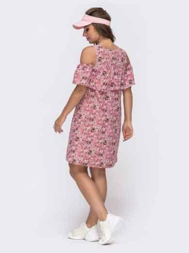 Розовое платье из принтованного софта с воланом на лифе 48585, фото 2