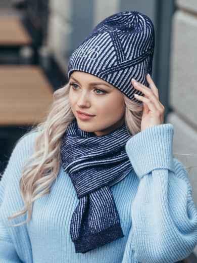 Темно-синий комплект с нитью люрекс из шапки и шарфа 51102, фото 1