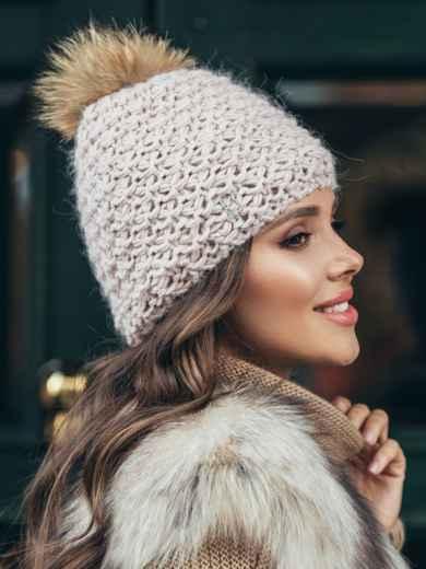 Зимняя шапка с помпоном и флисовой подкладкой пудровая 51099, фото 2