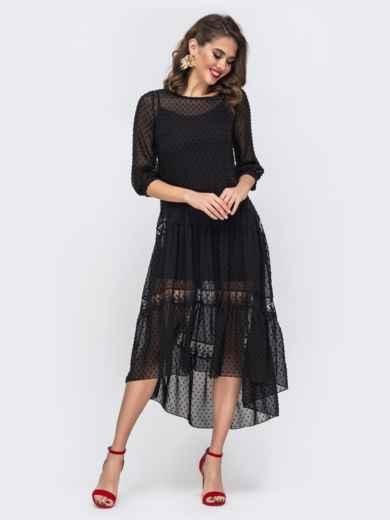 Чёрное платье из шифона в горох с удлиненной спинкой 42872, фото 1