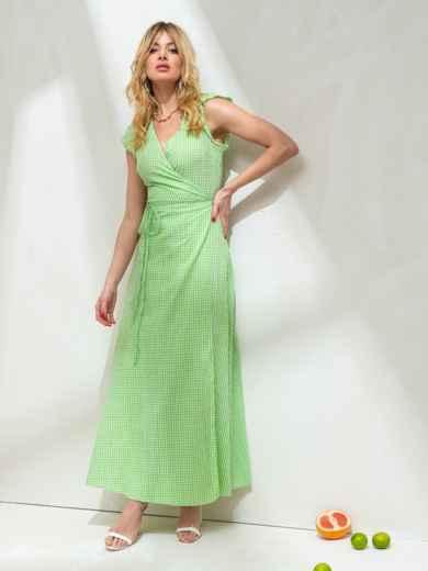 Длинное платье на запах из льна в клетку зеленое 47265, фото 1