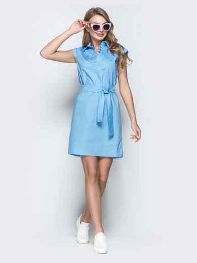 Хлопковое платье прямого кроя голубое 38886, фото 1