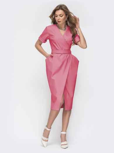 Коралловое платье на запах с объемными карманами 45855, фото 1