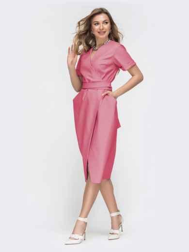 Коралловое платье на запах с объемными карманами 45855, фото 2