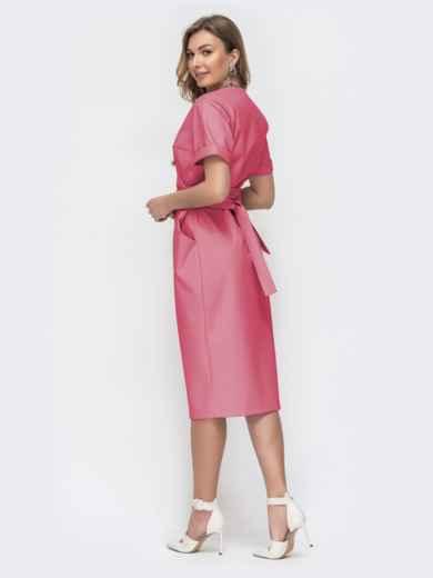 Коралловое платье на запах с объемными карманами 45855, фото 3