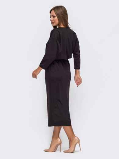 Коричневое платье-макси с кулиской по талии 51061, фото 2