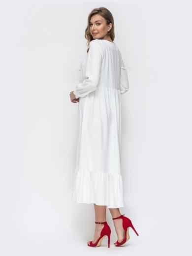 Платье белого цвета с воланом по низу 45715, фото 2