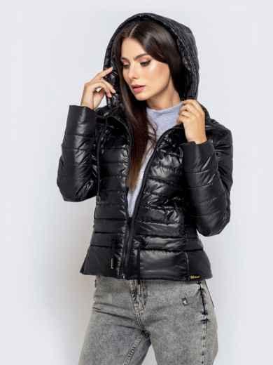 Укороченная куртка с кулиской по талии и капюшоном чёрная 40229, фото 1