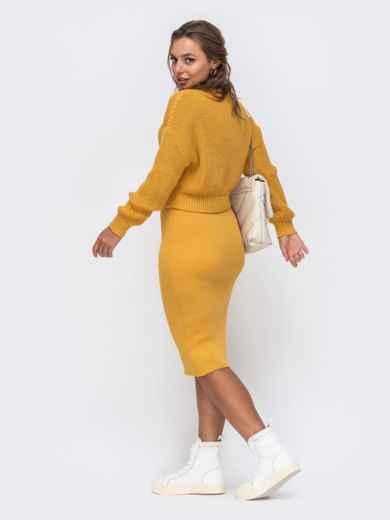 Желтый вязаный костюм с юбкой-карандаш 50636, фото 2