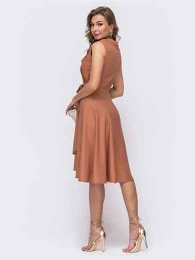 Платье на запах с удлиненной спинкой терракотовое 48244, фото 2