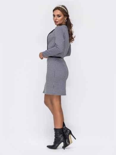 """Серое платье с принтом """"гусиная лапка"""" и окантовкой 42193, фото 2"""