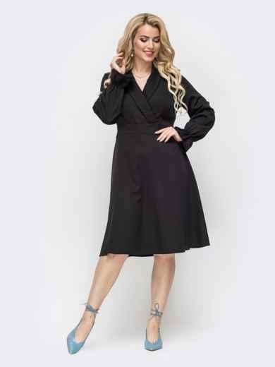 Чёрное платье большого размера с расклешенной юбкой 50876, фото 1