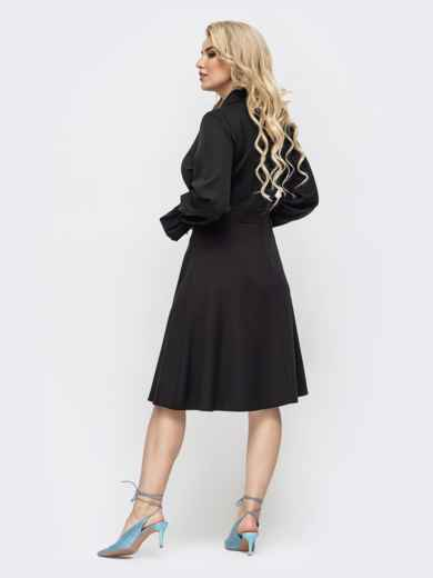 Чёрное платье большого размера с расклешенной юбкой 50876, фото 2
