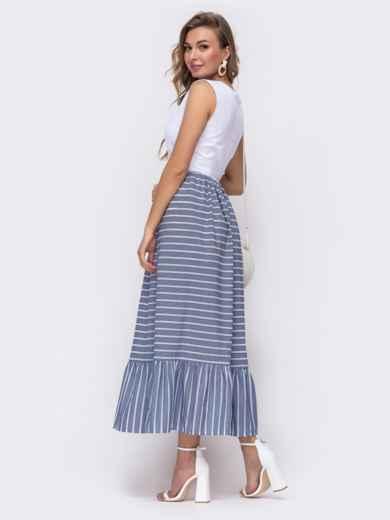 Платье-макси приталенного кроя с юбкой в полоску синее 48154, фото 2