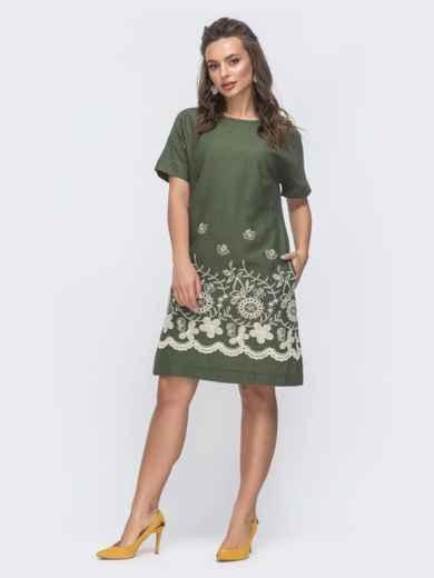 Платье-трапеция с вышивкой по низу хаки 46719, фото 1