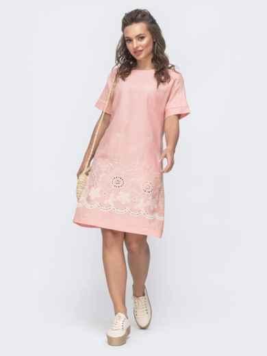 Платье-трапеция с вышивкой по низу розовое 46718, фото 1