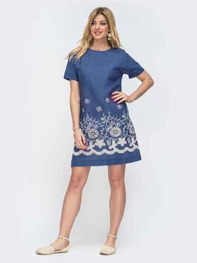 Платье-трапеция с вышивкой по низу синее 46716, фото 1