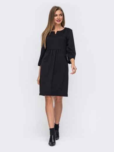Черное платье прямого кроя с модельной кокеткой 50820, фото 2