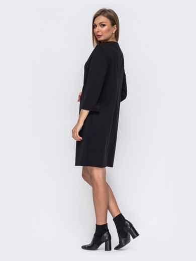 Черное платье прямого кроя с модельной кокеткой 50820, фото 3