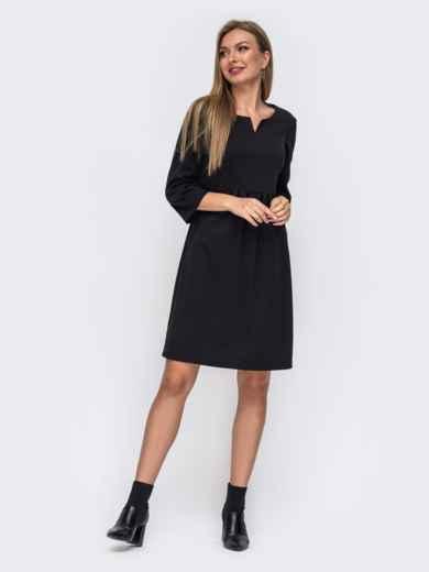 Черное платье с модельной кокеткой 50820, фото 1