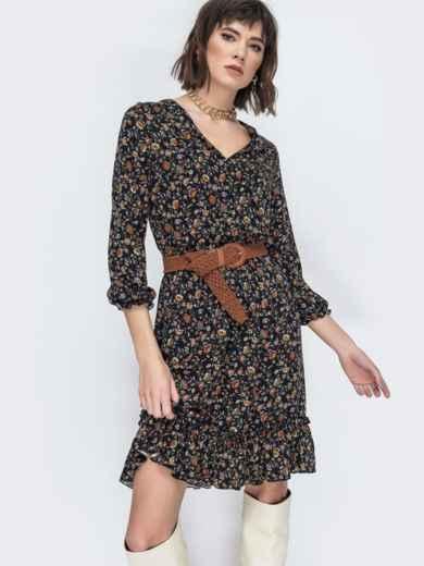 Чёрное платье с принтом и воланом по низу 45065, фото 1