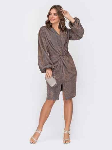 Приталенное платье с люрексом и разрезом спереди коричневое - 52307, фото 1 – интернет-магазин Dressa