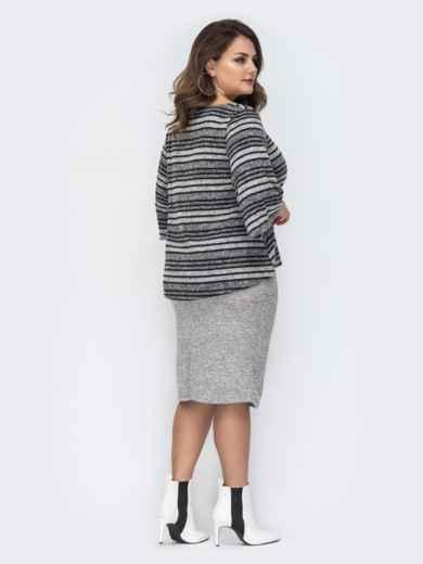 Серый комплект большого размера с блузкой в полоску 44436, фото 2
