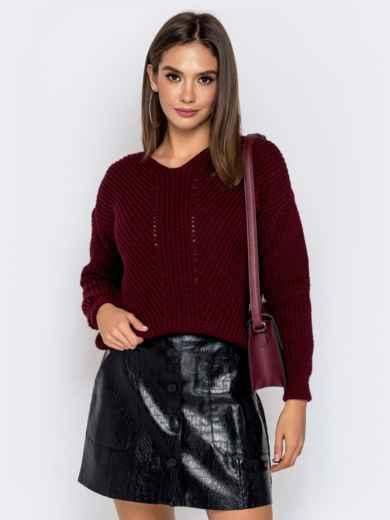 Бордовый свитер крупной вязки 41147, фото 1
